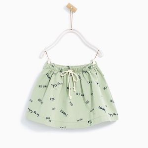 Zara Girls Sage Cotton Pull on Skirt with Words